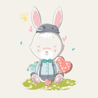 Dibujado a mano ilustración de un lindo conejito bebé con corazón,