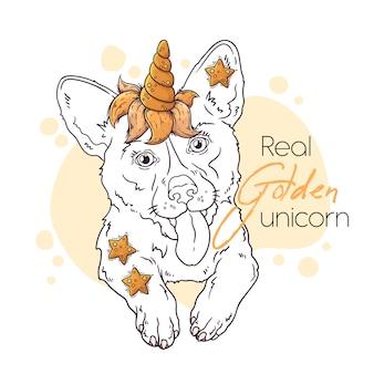 Dibujado a mano ilustración del lindo corgi con un cuerno de unicornio mágico.