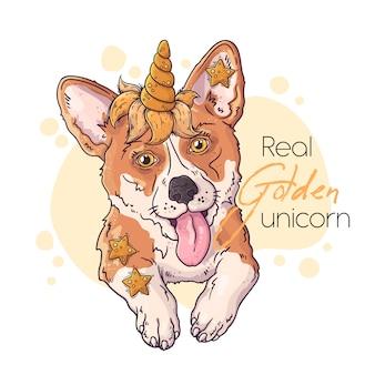 Dibujado a mano ilustración del lindo corgi con un cuerno de unicornio mágico