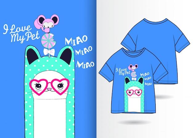 Dibujado a mano ilustración lindo gatito con diseño de camiseta