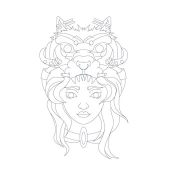 Dibujado a mano ilustración de lobo de chicas