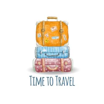 Dibujado a mano ilustración de maletas lindas de la vendimia