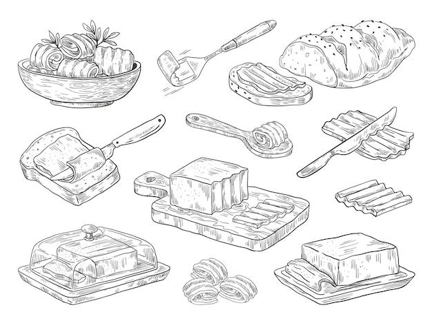 Dibujado a mano ilustración de mantequilla