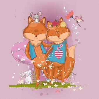 Dibujado a mano ilustración de mejores amigos de zorro lindo para niños