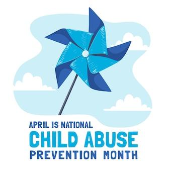 Dibujado a mano ilustración del mes nacional de prevención del abuso infantil
