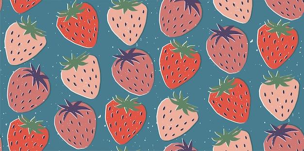 Dibujado a mano ilustración moderna con fresa. vintage moda de patrones sin fisuras en colores vibrantes. retro, textura pin-up repetitiva.