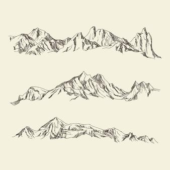 Dibujado a mano ilustración montañas