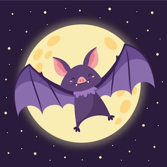 Dibujado a mano ilustración de murciélago de halloween plana