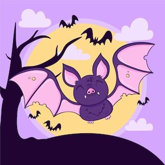 Dibujado a mano ilustración de murciélago de halloween
