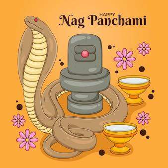 Dibujado a mano ilustración nag panchami