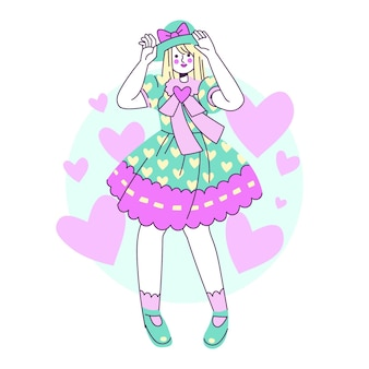 Dibujado a mano ilustración de niña de estilo lolita plana