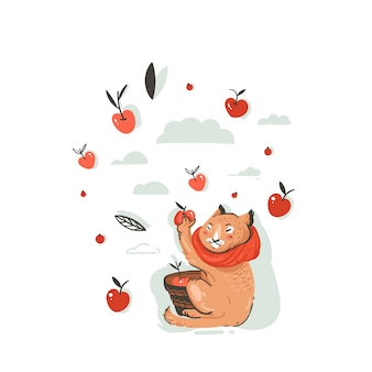Dibujado a mano ilustración de otoño de dibujos animados de saludo abstracto con personaje de gato lindo recogido cosecha de manzana con bayas, hojas y ramas sobre fondo blanco.