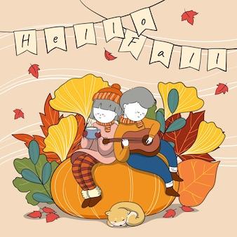 Dibujado a mano ilustración de otoño con gente al aire libre cantando y tomando bebidas calientes