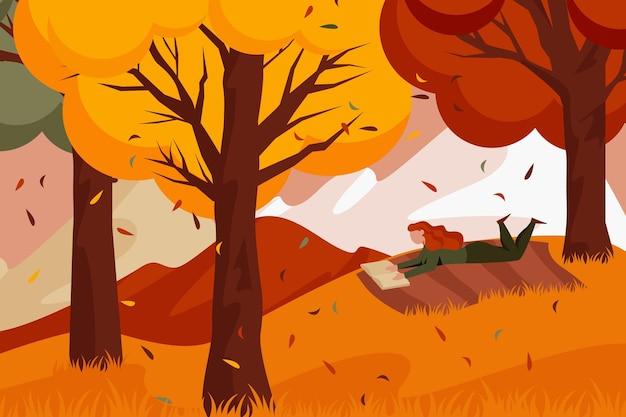 Dibujado a mano ilustración de otoño plano