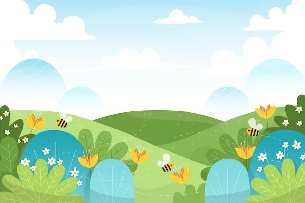 Dibujado a mano ilustración de paisaje de primavera