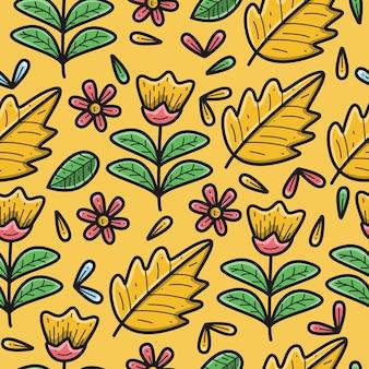 Dibujado a mano ilustración de patrón floral
