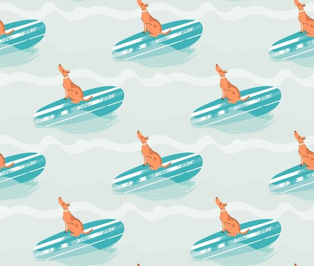 Dibujado a mano ilustración de patrones sin fisuras con perro surf