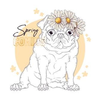 Dibujado a mano ilustración del perro pug con flores