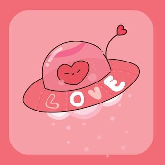 Dibujado a mano ilustración de personaje de corazón ovni
