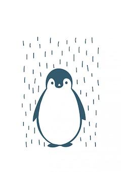Dibujado a mano ilustración de pingüino