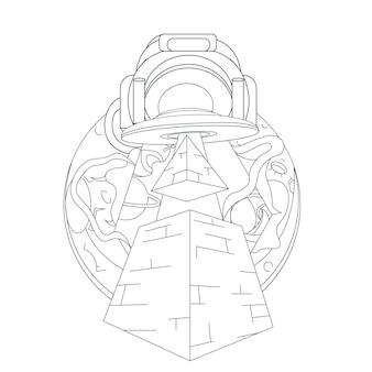 Dibujado a mano ilustración de la pirámide ovni