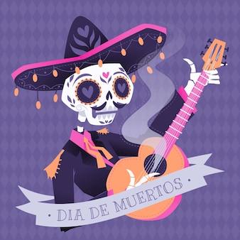 Dibujado a mano ilustración plana dia de muertos