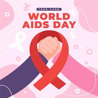 Dibujado a mano ilustración plana del día mundial del sida