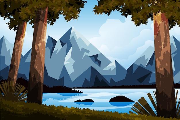 Dibujado a mano ilustración plana de paisaje