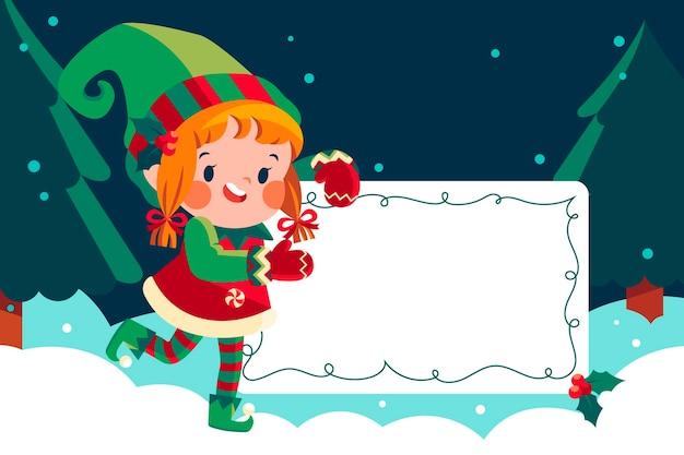 Dibujado a mano ilustración plana de personaje navideño sosteniendo pancarta en blanco