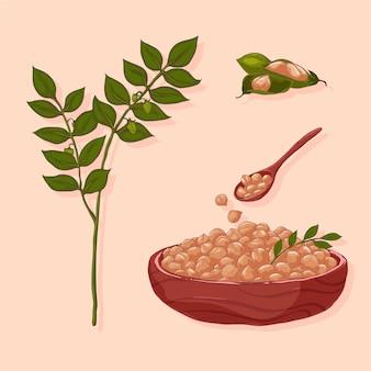 Dibujado a mano ilustración de plantas y garbanzos