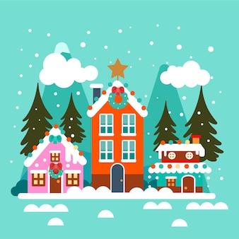 Dibujado a mano ilustración de pueblo de navidad plano