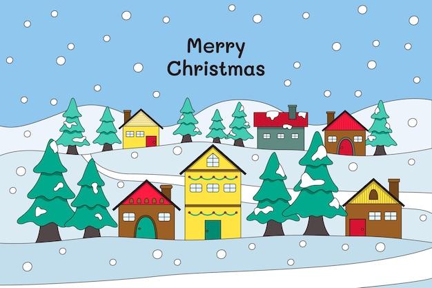 Dibujado a mano ilustración de pueblo de navidad