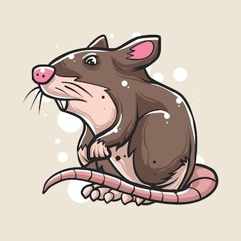 Dibujado a mano de la ilustración del ratón