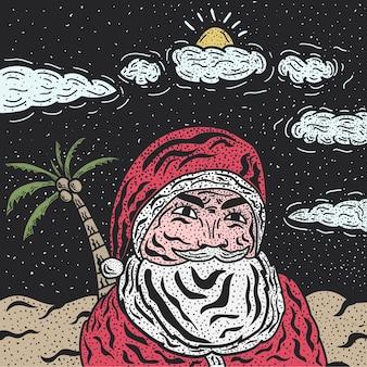 Dibujado a mano ilustración retro de santa en el fondo de la playa nocturna ideal para año nuevo y navidad