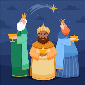 Dibujado a mano ilustración de reyes magos