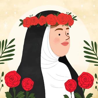 Dibujado a mano ilustración santa rosa de lima