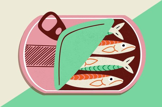Dibujado a mano ilustración de sardina en conserva