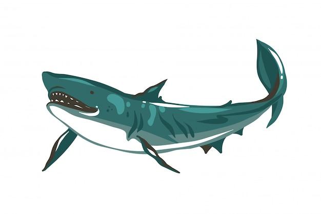 Dibujado a mano ilustración de stock abstracto con dibujo de tiburón nadando bajo el agua sobre fondo de color blanco.