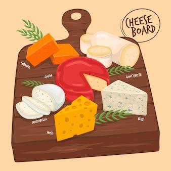 Dibujado a mano ilustración de tabla de quesos