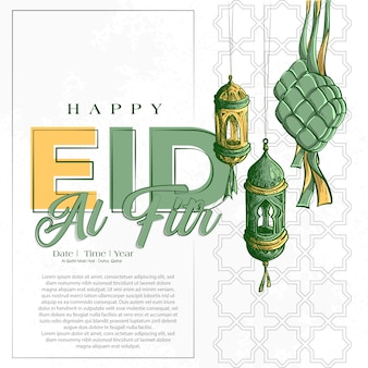Dibujado a mano ilustración de la tarjeta de felicitación de eid al fitr