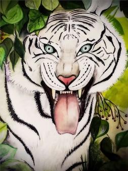 Dibujado a mano ilustración de tigre de acuarela