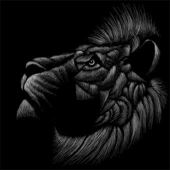 Dibujado a mano ilustración en tiza estilo de león
