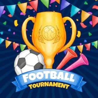 Dibujado a mano ilustración de torneo de fútbol