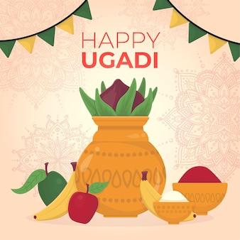 Dibujado a mano ilustración de ugadi