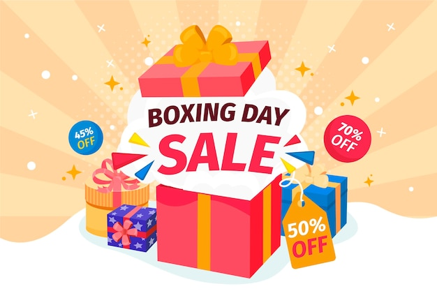 Dibujado a mano ilustración de venta de día de boxeo plano