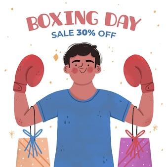 Dibujado a mano ilustración de venta del día del boxeo