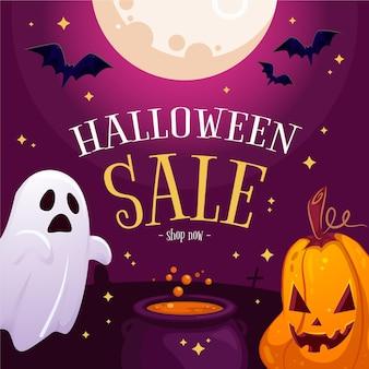 Dibujado a mano ilustración de venta de halloween plana