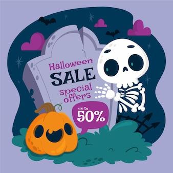 Dibujado a mano ilustración de venta de halloween plana vector gratuito