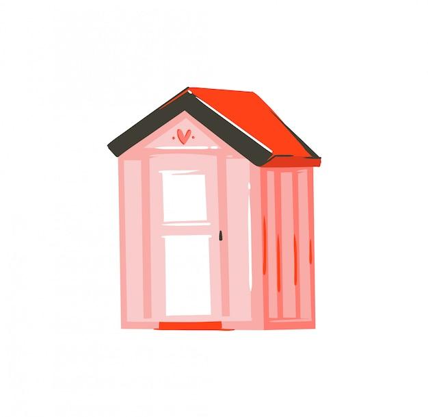 Dibujado a mano ilustración de verano de dibujos animados abstractos con cabaña de playa rosa sobre fondo blanco