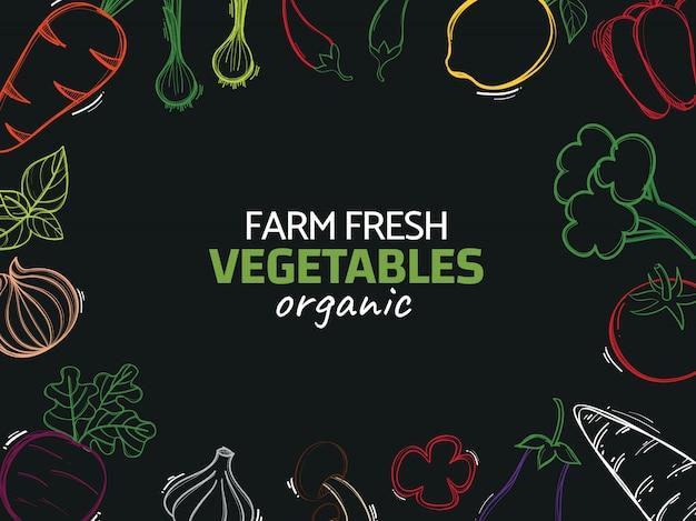 Dibujado a mano ilustración con verduras orgánicas vector